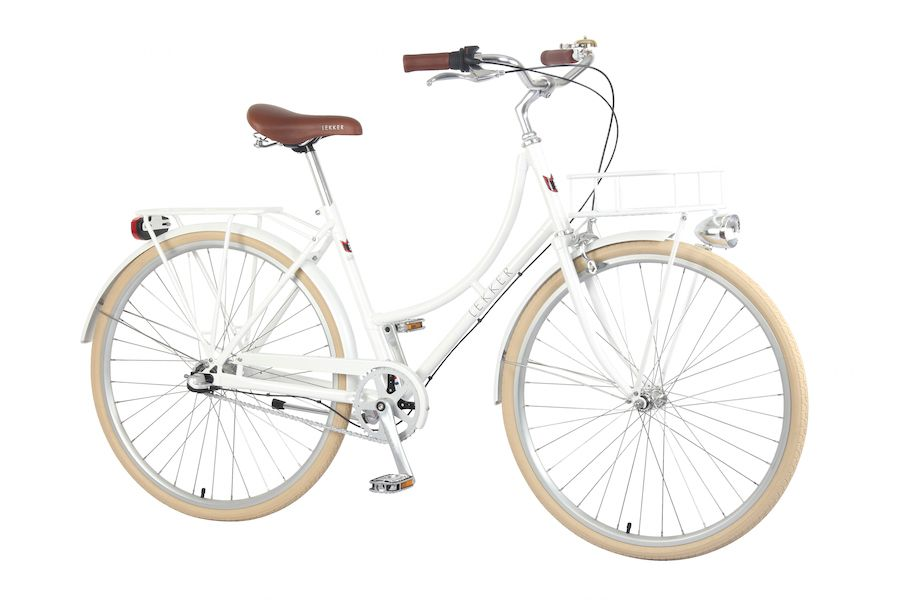 Lekker Bikes Retro Vintage Women Bicycle Pearl White Diagonal