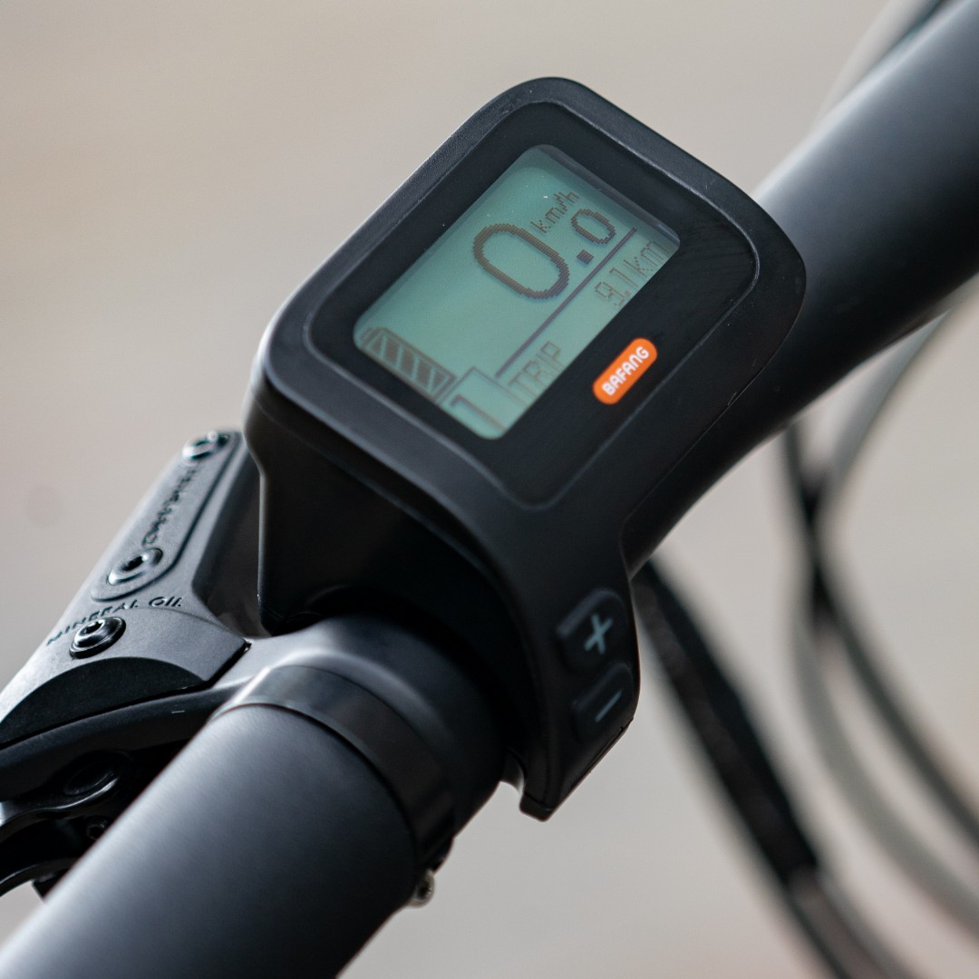 LEKKER Amsterdam+ eBike; LCD details; battery charge, speed, and mileage