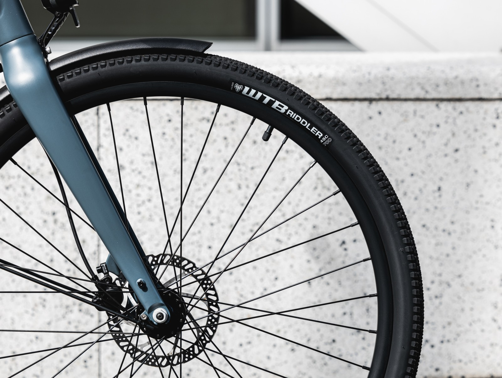 Close up of black bicycle tire